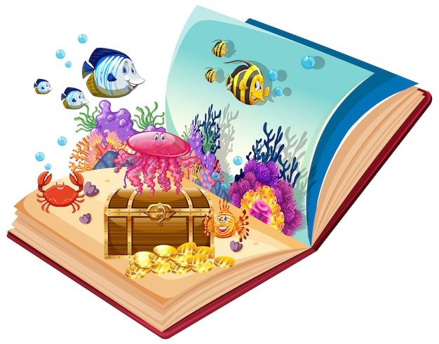 Tema sottomarino a libro aperto Vettore Premium