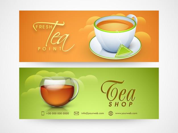 Temi shop header o banner design per caffè e ristoranti. Vettore gratuito