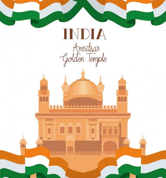 Tempio d'oro indiano amritsar con bandiera Vettore gratuito