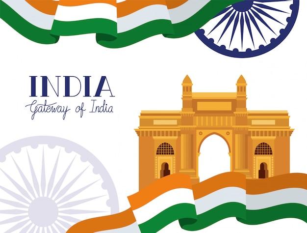 Tempio del cancello indiano con bandiera Vettore gratuito