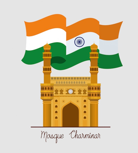 Tempio di chaminar della moschea indiana con bandiera Vettore gratuito