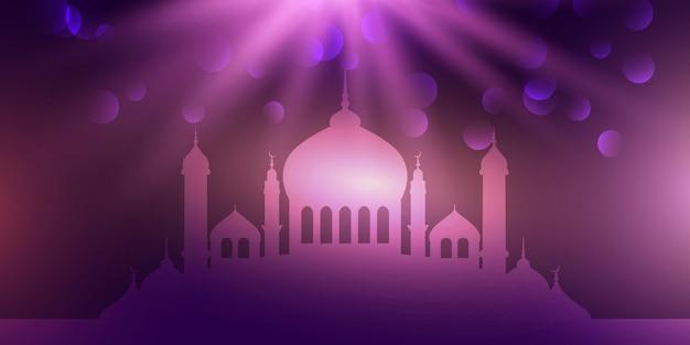 Tempio viola per il design di eid mubarak Vettore gratuito