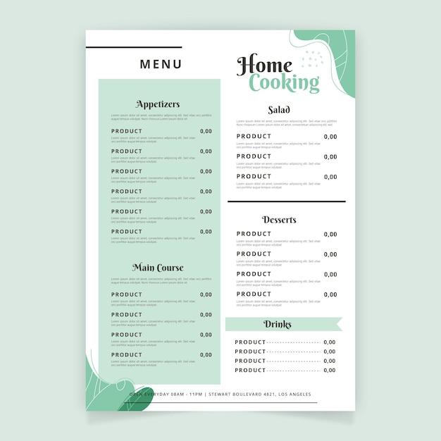 Templat menu ristorante minimalista Vettore gratuito