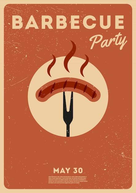 Tempo barbecue. festa barbecue. poster vintage. giorno della memoria Vettore Premium