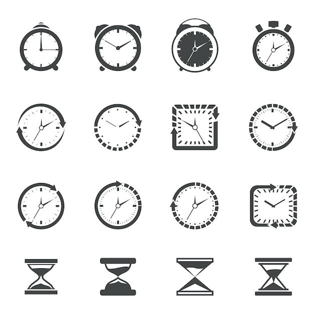 Tempo collezione di icone Vettore gratuito
