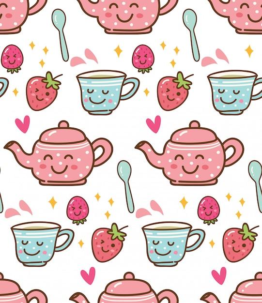 Tempo del tè con la fragola nella priorità bassa di stile di kawaii Vettore Premium