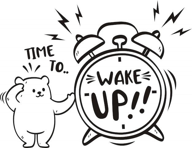 Tempo di parola scritto a mano per svegliarsi con l'orso carino Vettore Premium