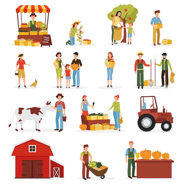 Tempo di raccolta autunnale sulla raccolta di icone piane di fattoria Vettore gratuito