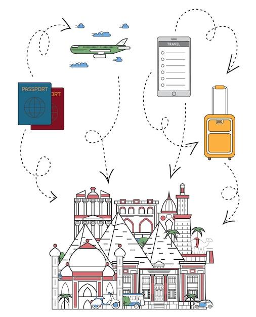Tempo di viaggiare illustrazione in stile lineare Vettore Premium