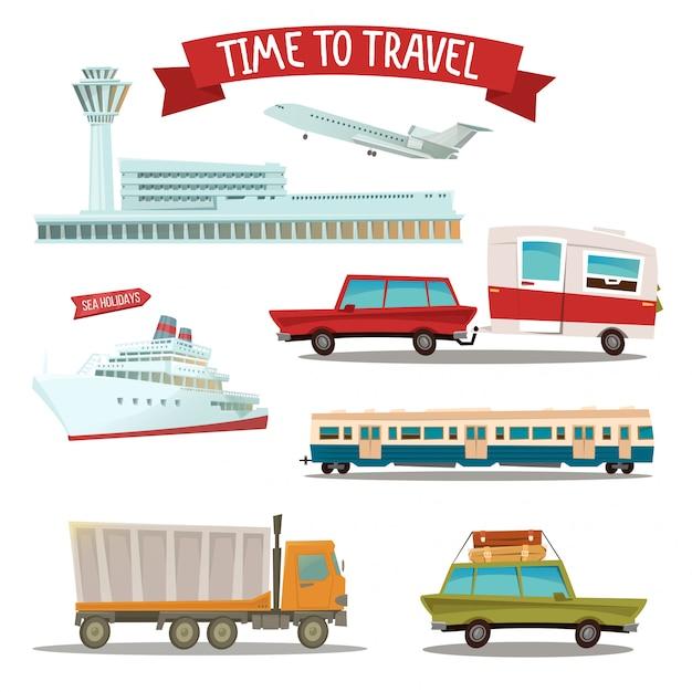 Tempo di viaggiare. set di trasporto - aereo, treno, nave, auto, camion e furgone Vettore Premium