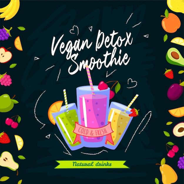 Tempo frullati illustrazione vettoriale con diversi frullati e frutta su sfondo nero Vettore Premium