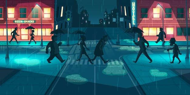 Tempo piovoso sul vettore delle vie della città di notte Vettore gratuito