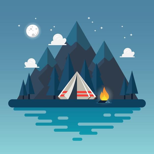 Tenda da campeggio con paesaggio di notte Vettore Premium