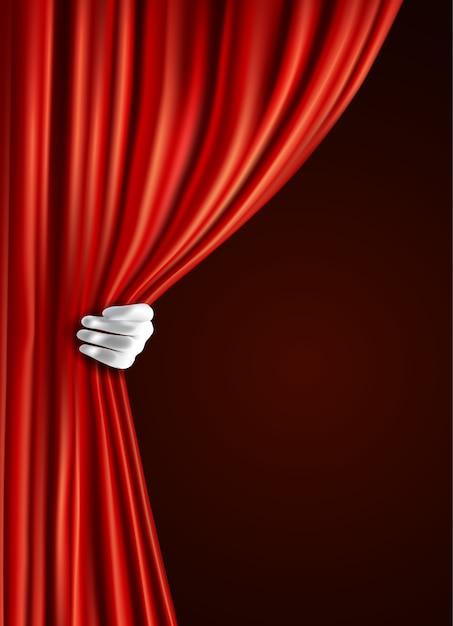 Tenda del teatro con la mano Vettore gratuito
