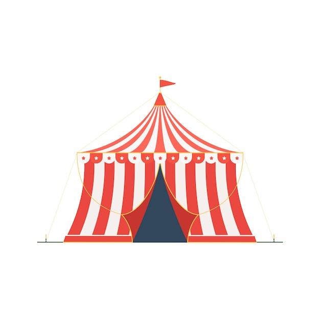 Tenda di circo isolata su bianco Vettore Premium