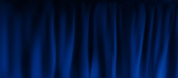 Tenda di velluto blu colorato realistico piegato. opzione tenda a casa al cinema Vettore Premium