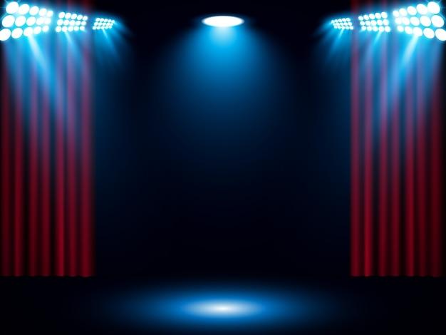 Tenda rossa con riflettori blu Vettore Premium