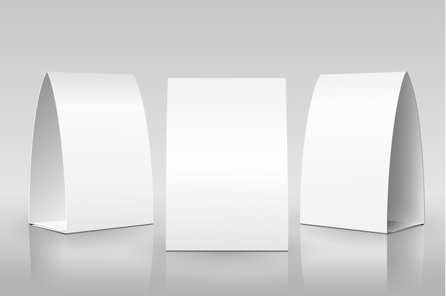 Tenda tavolo bianco. carte verticali di carta Vettore Premium