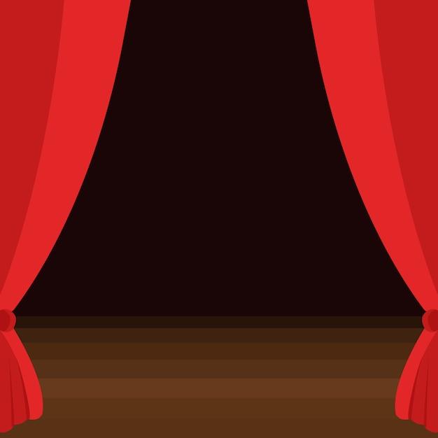 Tende da palcoscenico con pavimento in legno marrone Vettore Premium
