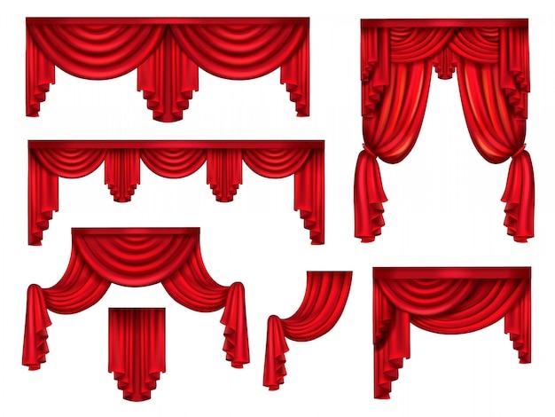Tende rosse da palcoscenico, drappi di seta vittoriana con grinze Vettore gratuito