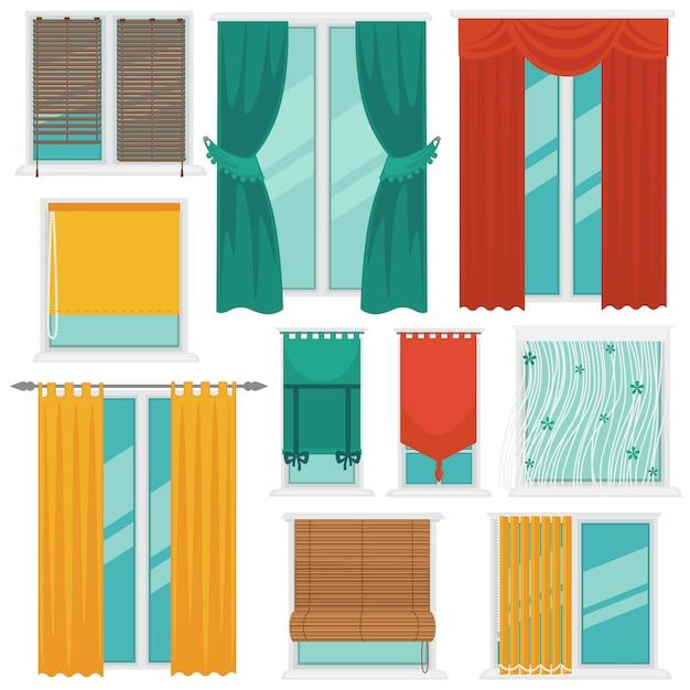 Tende su windows colorful vector collection Vettore Premium