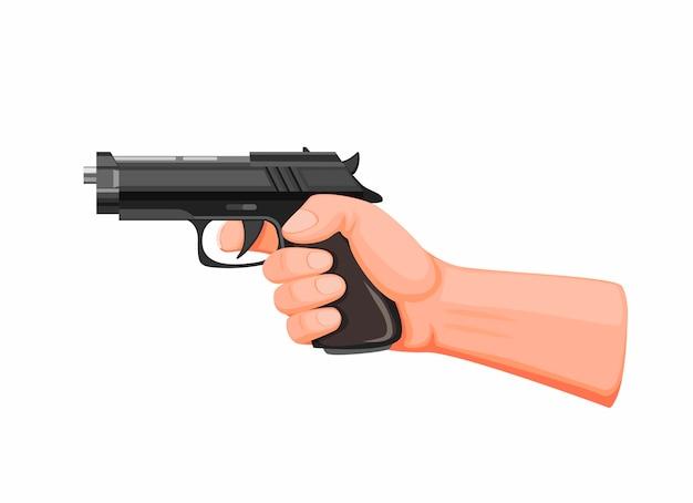 Tendenza della pistola della tenuta della mano pronta a sparare. pistola della rivoltella nel vettore dell'illustrazione del fumetto su bianco Vettore Premium
