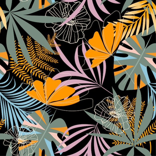 Tendenza modello tropicale senza cuciture con foglie, fiori e piante brillanti Vettore Premium