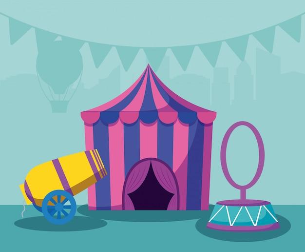 Tendone da circo con cannone e anello Vettore Premium