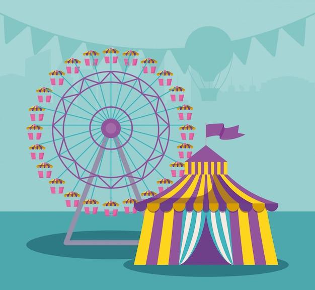 Tendone da circo con ruota panoramica Vettore Premium