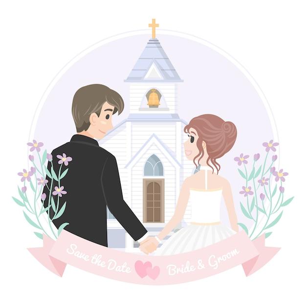 Tenendo le coppie di nozze della mano con la chiesa Vettore Premium