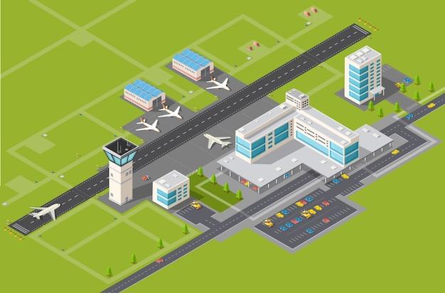 Terminal dell'aeroporto per l'arrivo e la partenza Vettore Premium