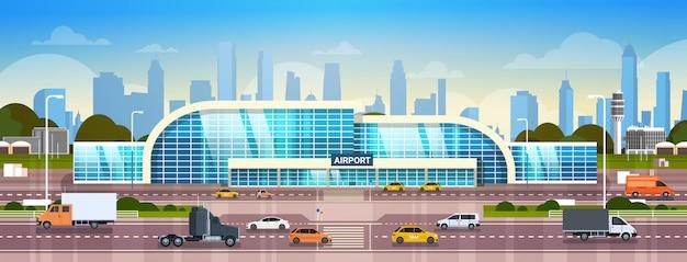 Terminal moderno esterno dell'aeroporto dell'aeroporto Vettore Premium