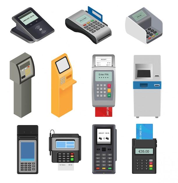 Terminale bancario pos di vettore macchina di pagamento per carta di credito per pagare bancomat lavorazione del sistema per pagare il lettore di carte in negozio Vettore Premium