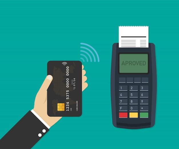 Terminale di pagamento macchina pos con carta di credito. illustrazione vettoriale Vettore Premium