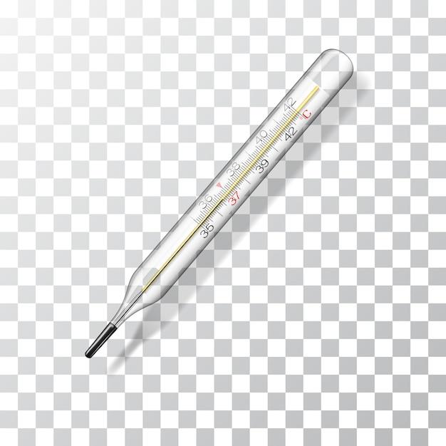 Termometro medico. termometro di vetro realistico per misurare la temperatura corporea. Vettore Premium