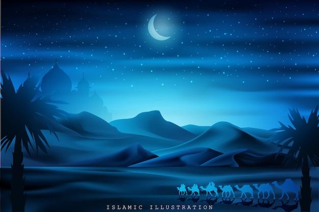 Terra araba cavalcando cammelli di notte accompagnati da scintillii di stelle, moschee Vettore Premium