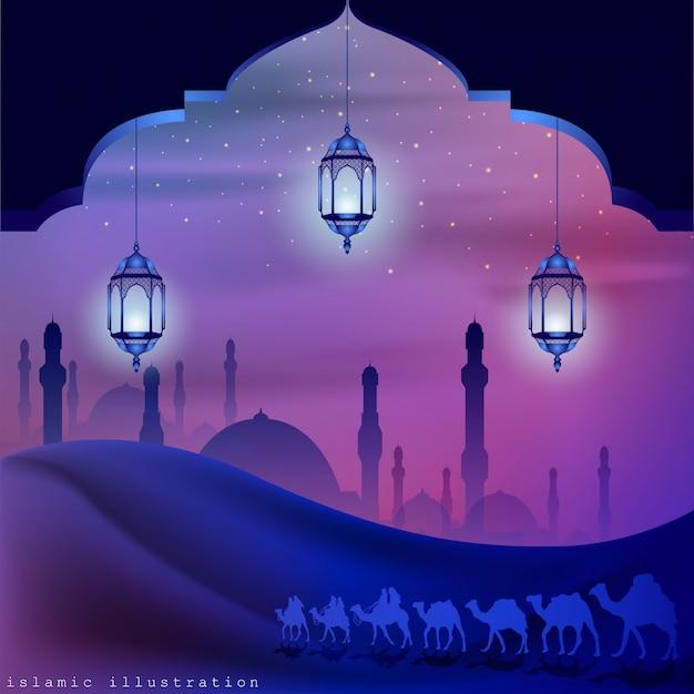 Terra araba cavalcando cammelli di notte accompagnati da scintillii di stelle Vettore Premium