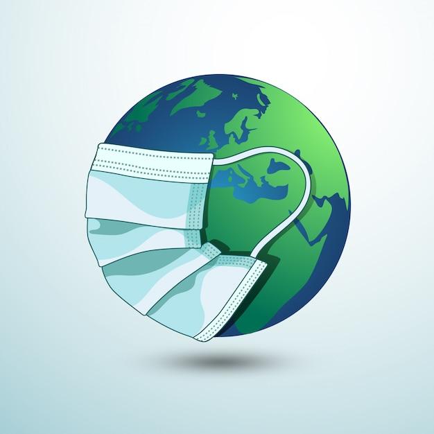 Terra con mascherina medica Vettore Premium