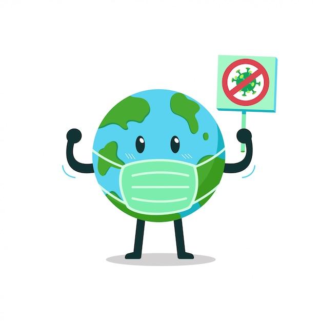 Terra del personaggio dei cartoni animati che indossa una maschera protettiva con segno anti virus Vettore Premium