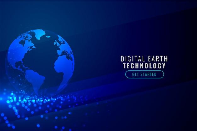 Terra digitale con sfondo di particelle di tecnologia Vettore gratuito