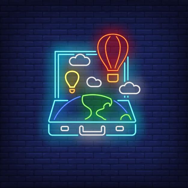 Terra e mongolfiere in segno aperto al neon valigia Vettore gratuito