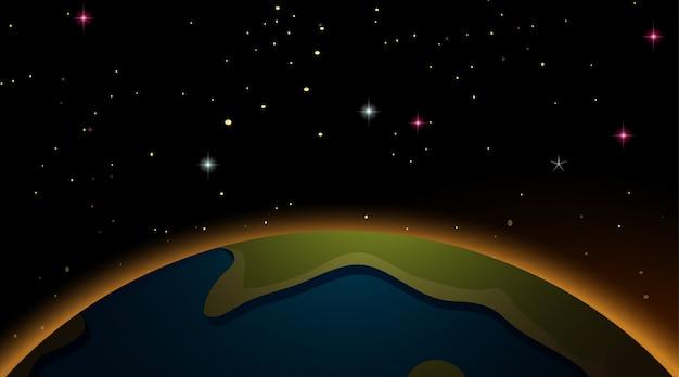 Terra sullo sfondo della scena spaziale Vettore Premium
