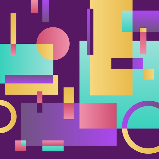 Terra viola moderna astratta con oggetti geometrici Vettore gratuito