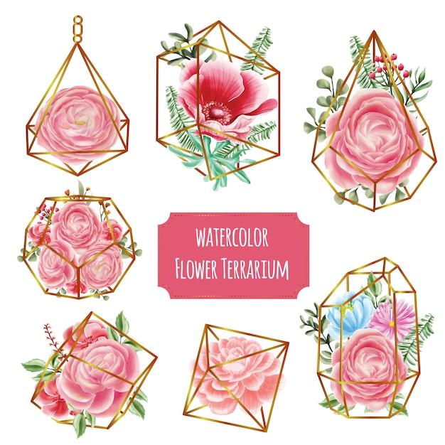 Terrario in oro con acquerello fiore rosa Vettore Premium