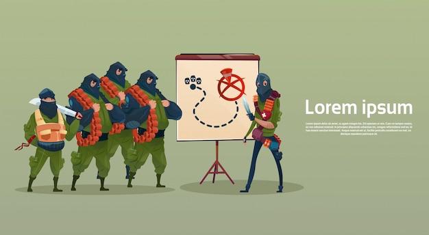 Terrorismo armato terrorista maschera nera hold arma mitragliatore pianificazione attacco Vettore Premium