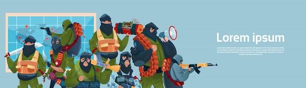Terrorismo armed terrorist black mask hold arma machine gun pianificazione world attack Vettore Premium