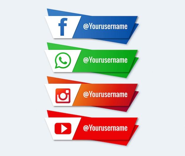 Terzo set di raccolta inferiore social media Vettore gratuito
