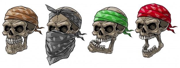 Teschi di motociclista del fumetto con bandana e sciarpa Vettore Premium