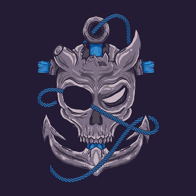 Teschio dei pirati Vettore Premium