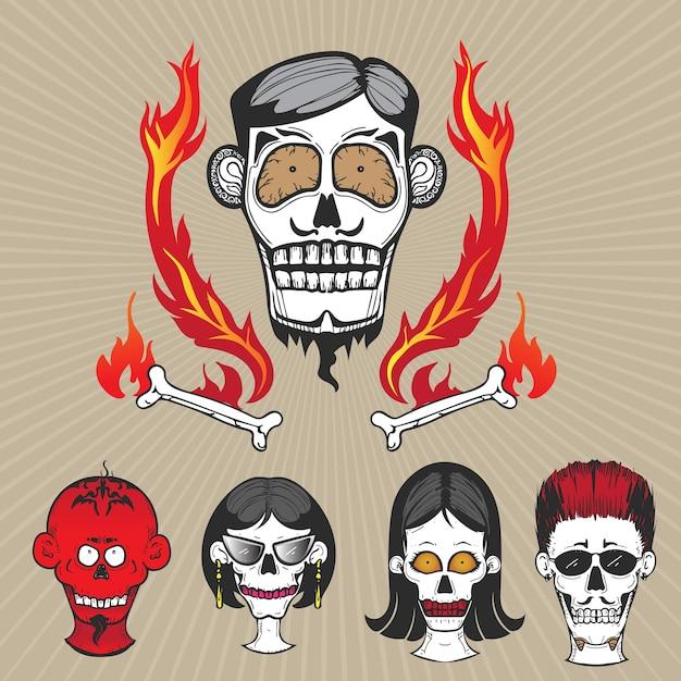 Teschio di cartone animato per tatuaggio e graffiti scaricare